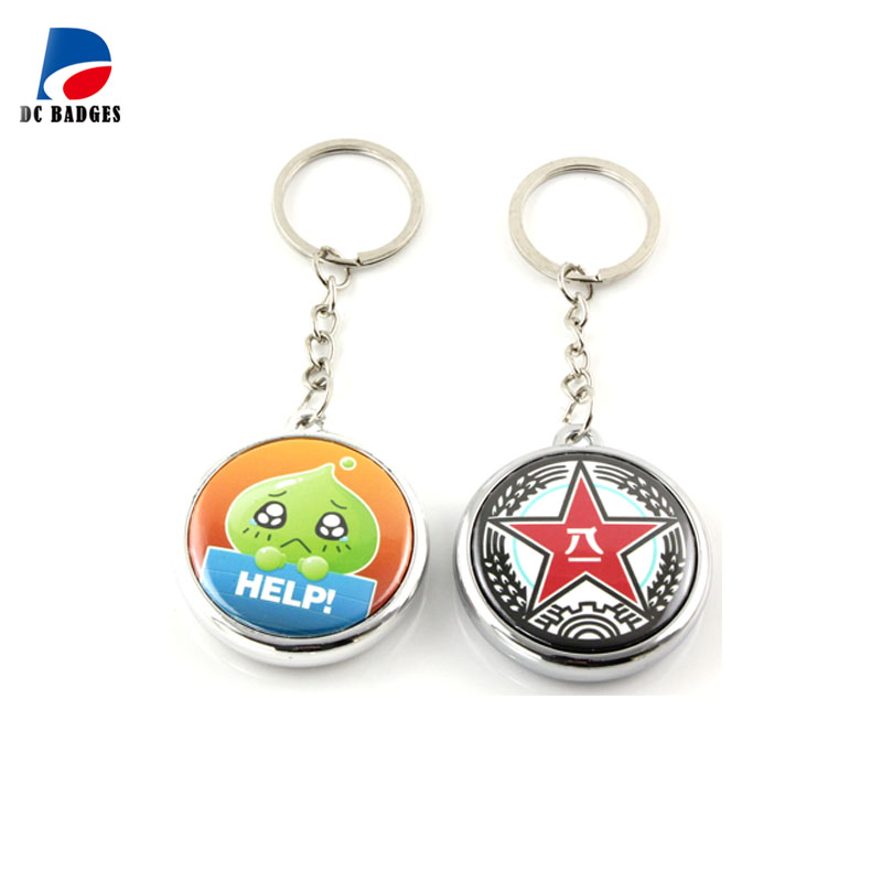 200sets Double side 25mm electroplated silver color button keyring material without pictures