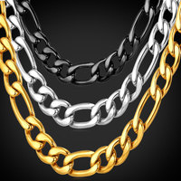 Chunky Necklace Men Jewelry 2016 New Stainless Steel Black Gun 18K Real Gold Plated 9MM Long