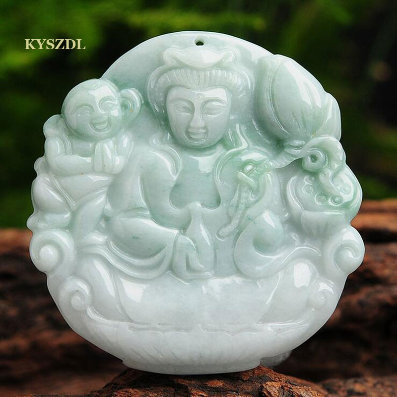 KYSZDL Natural feicui Children-Sending Guanyin yu Pendant bring good luck Blessed peace women's pendant free necklace rope 100% natural green jadeite round circle pendant bring peace 1pcs