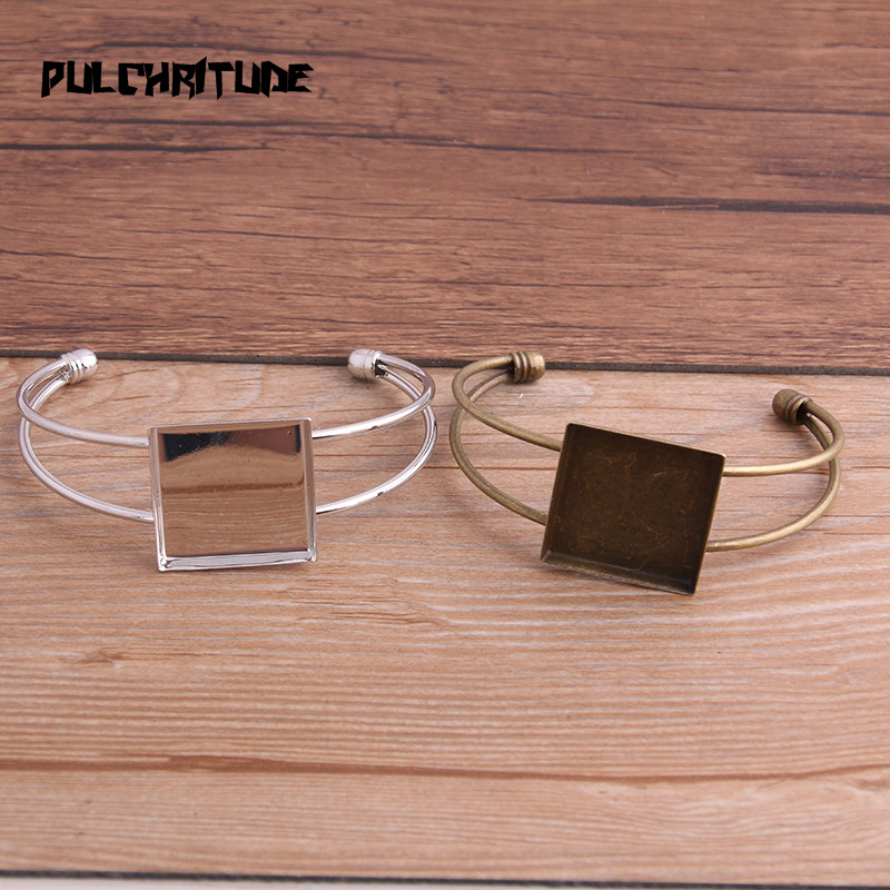 PULCHRITUDE 1pcs Two Color Plated Bangle Base Bracelet Blank Findings Tray Bezel Setting Square 25mm Cabochon Cameo