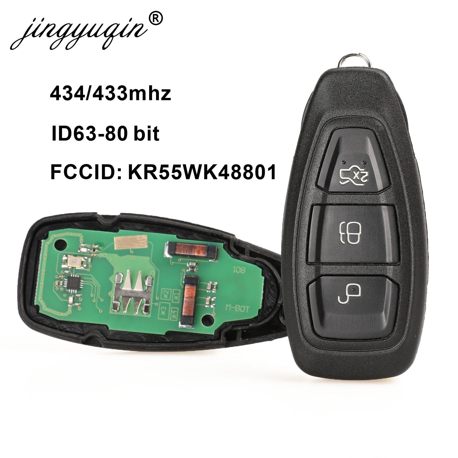 Умный дистанционный ключ jingyuqin KR55WK48801 для Ford Focus C-Max Mondeo Kuga Fiesta B-Max 433/434 МГц 4D63 80 бит, без ключа