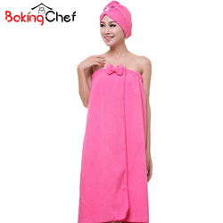BAKINGCHEF Women's Microfiber Bath Towel Set With Hair Band Bathrobe Home Textile Bathroom Items Gear Stuff Accessories Supplies