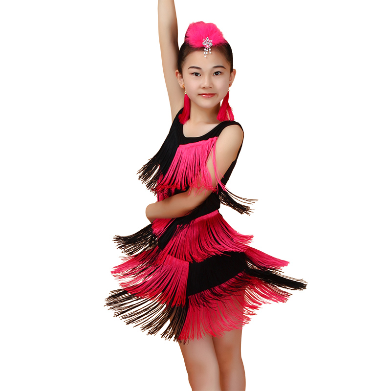 Latin Dance Dress Girls Tassel Latin Ballroom Costumes ...