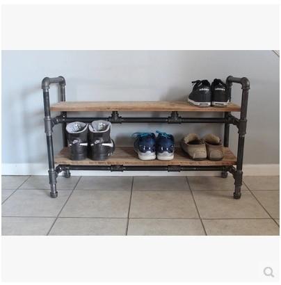 US $270 0  Vintage iron pipe racks shelf shoe rack shelf bookcase shelf  Storage Rack Floor multilayer-in Swivel Plates from Home Improvement on