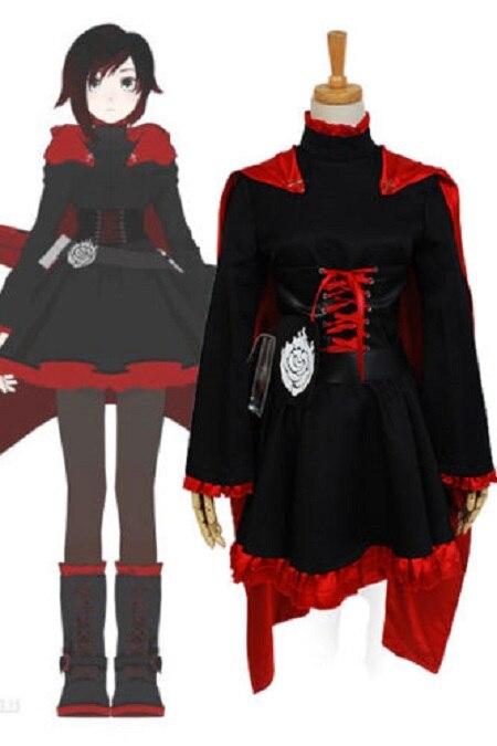 Ruby Rose Cosplay RWBY 3 Season Red Dress Cloak Battle Uniform Halloween Carnival Cosplay Costume For adult women Full Sets