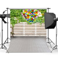 Photography Backdrop Birthday Balloons Green Leaves Vine Vintage Stripes Wood Floor Backdrops