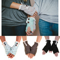 19cm*8cm Knitted Winter Gloves for Women Lace Trim Buttons Gloves Hollow Leaves Fingerless Gloves Guantes Mujer