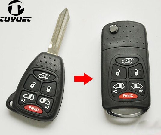 Modified 5+1/6 Butttons Remote Case FOB Blanks For Chrysler Modified Flip Folding Key Shell