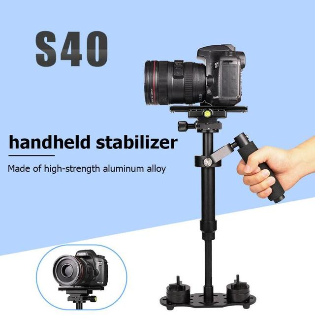 S40 อลูมิเนียมHandheld DSLR StabilizerแบบพกพาAnti Shakeโทรศัพท์ผู้ถือMount Stabilizerรูปภาพอุปกรณ์เสริมDSLR