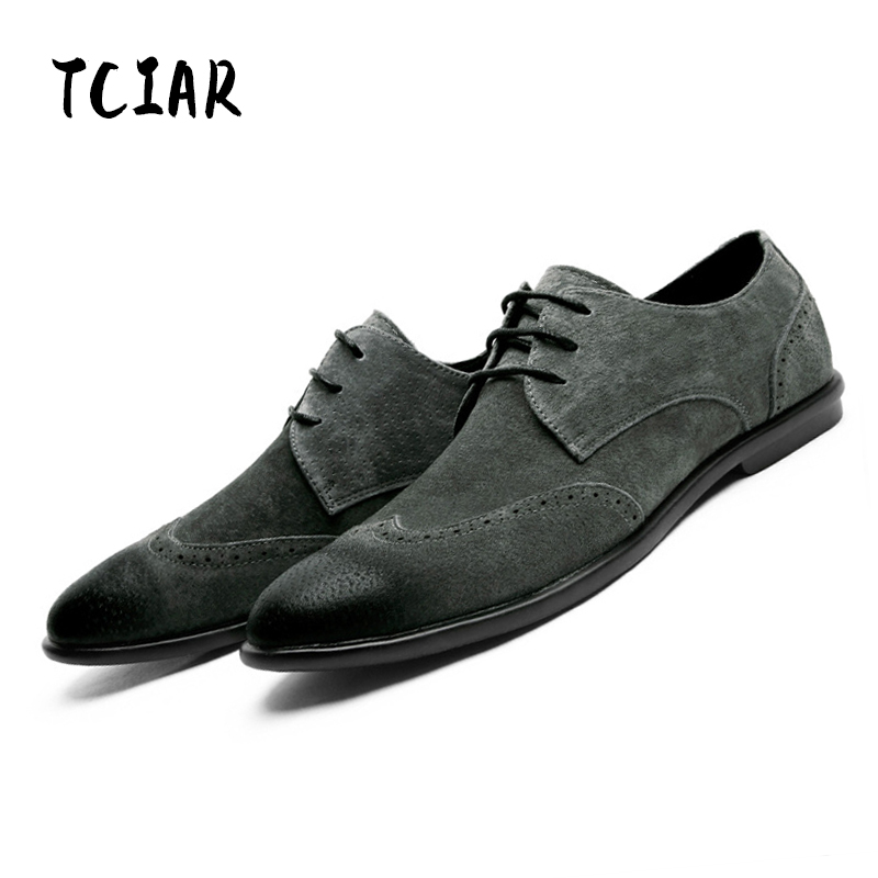 TCIAR Brand 2017 New Arrival Spring Autumn Fashion Mens Genuine Leather Suede Shoes Casual Breathable Office Oxford Man DS1101