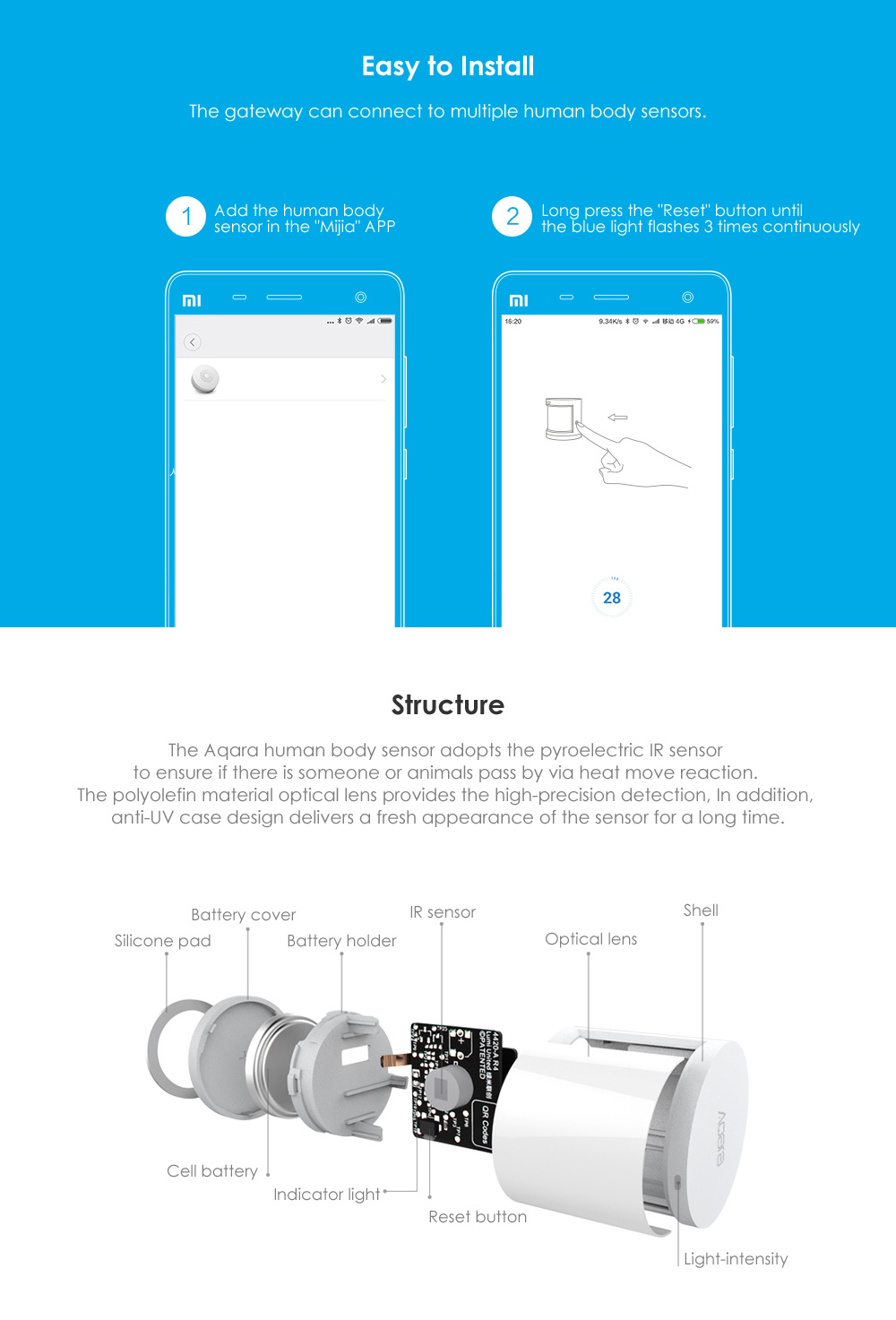 Xiaomi Aqara Body Sensor&Light Intensity Sensors, Zigbee Wireless WiFi With Holder Smart Mi Home APP for Gateway Hub iOSAndroid (32)