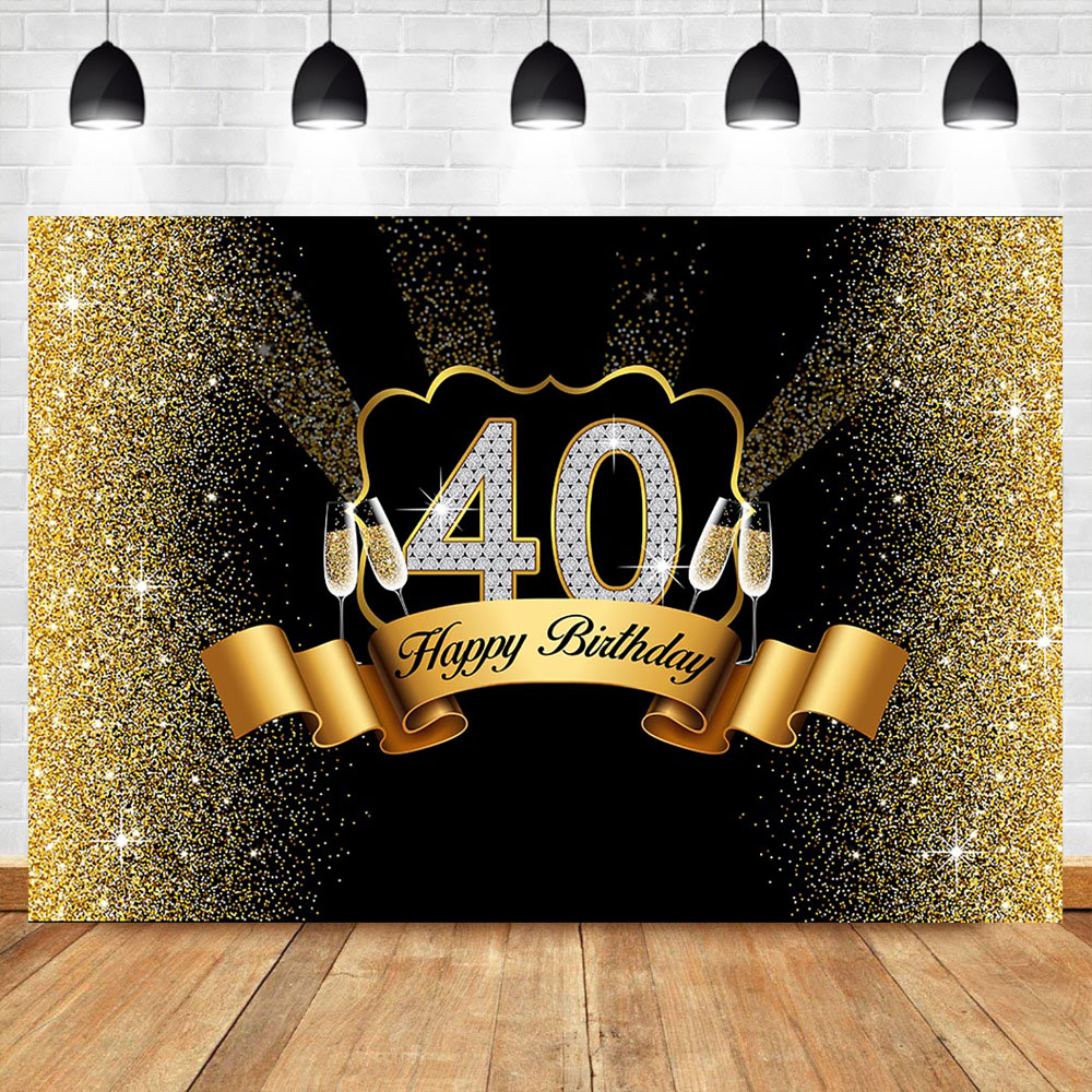 Happpy <font><b>40th</b></font> <font><b>Birthday</b></font> <font><b>Backdrop</b></font> Gold Glitter Bokeh Shiny Photo Background Champagne Celebration <font><b>Birthday</b></font> Party Banner <font><b>Backdrops</b></font> image