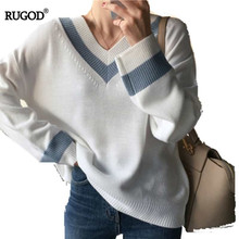 RUGOD V-neck Sweater Women Korean Style Autumn And Winter 2019 New Loose Preppy Casual Knitted Pullover סוודר