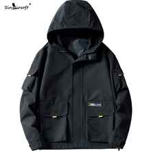 New Arrival 100% Polyester Big Pockets Jacket Men Zipper Soild Safari Style Streetwear Coat Male Spring Autumn Fashion Clothing