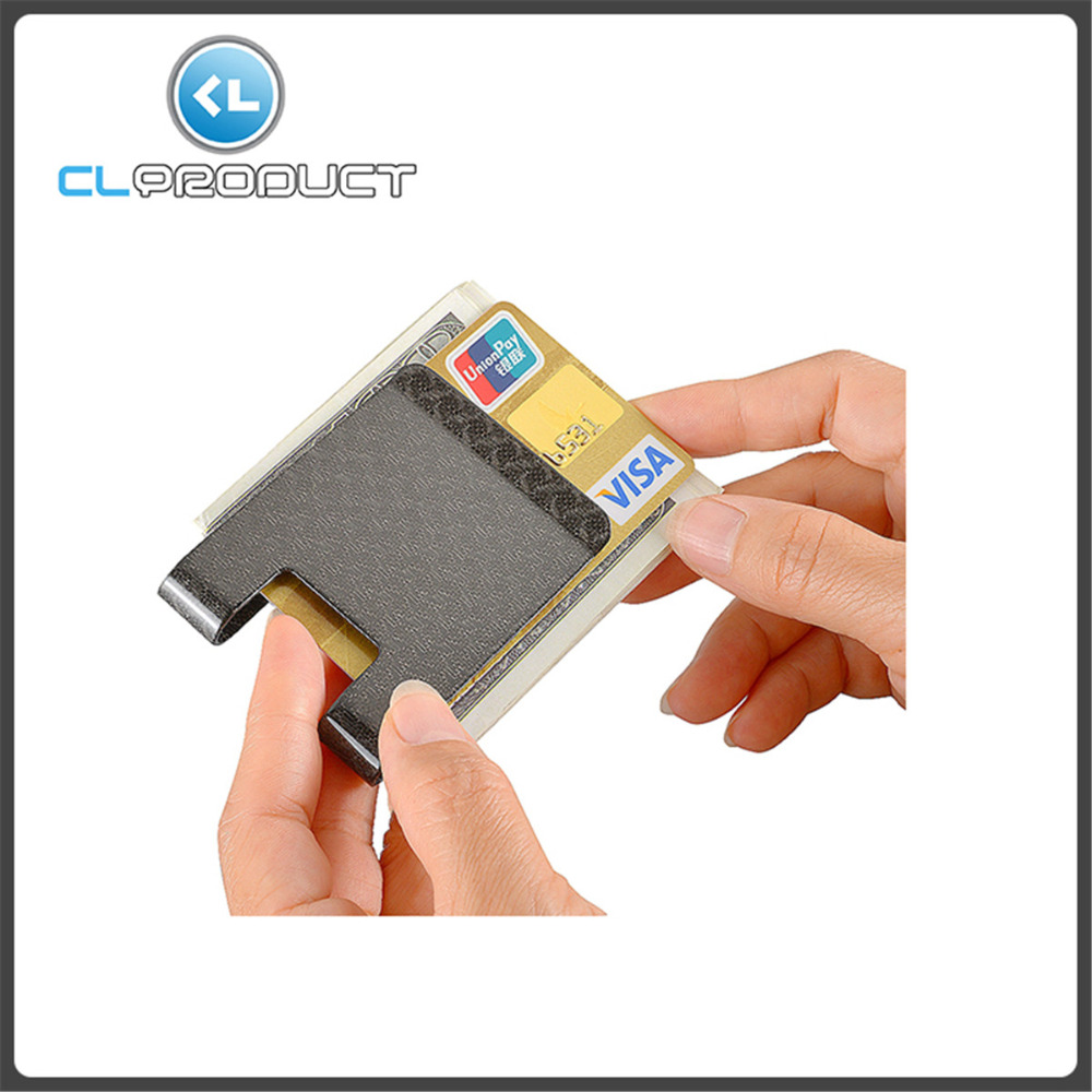 Credit card holder RFID Glossy - Genuine Special Carbon Fiber clamp for money card holders