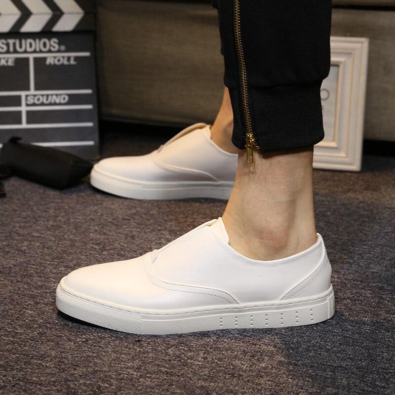 Hommes La Chaussures Main Noir À Casual Mocassins Yomior on En De Mode Noir Appartements blanc Blanc Haute Véritable Slip Qualité Printemps Cuir Étudiant qFwqxIvz