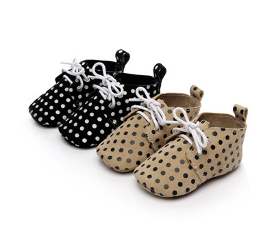 50pairs/lot Genuine Leather Baby moccasins polka dot horse hair shoes baby Toddler lace-up leather baby booties First walker