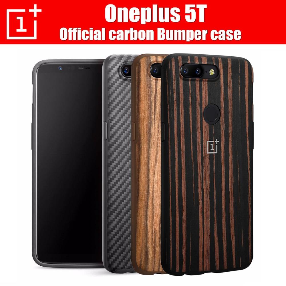 OnePlus 5 T Stoßstange Fall Ursprüngliche 100% Offizielle rückseite fall Rundumschutz Karbon Ebenholz shell oneplus 5 t coque