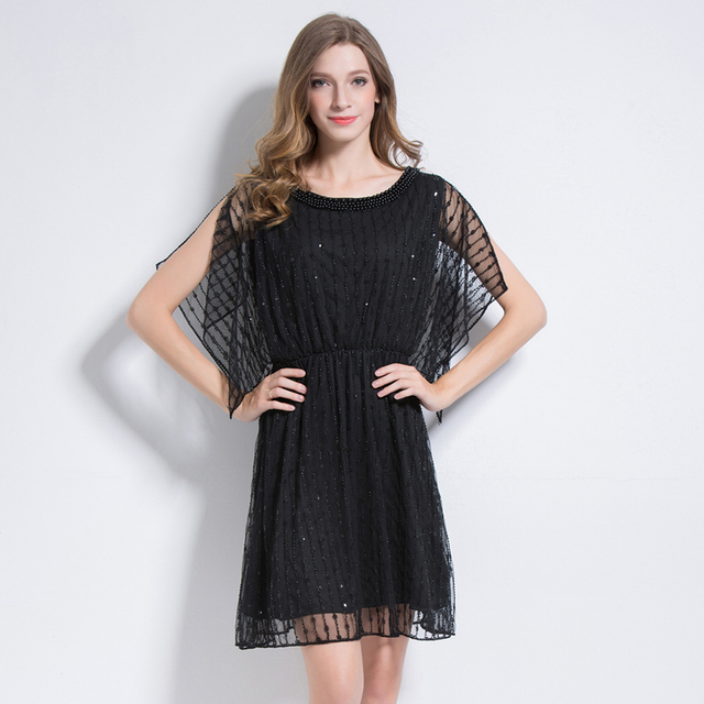 0a060cee4c2 Luxury Women Little Black Dress Sequin Beading Embellished Party Dress  Pearl Trimming Mesh Slit Cloak Sleeve 2018 Summer Vestido