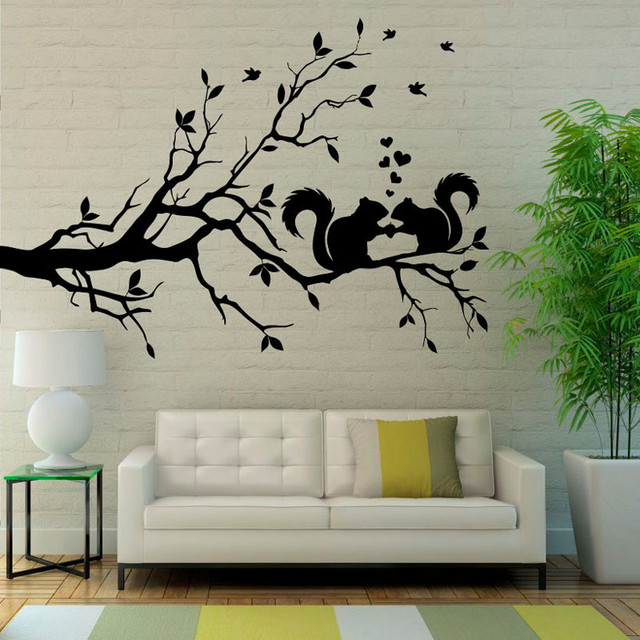 two squirrels on the tree wall decals birds hearts pattern home