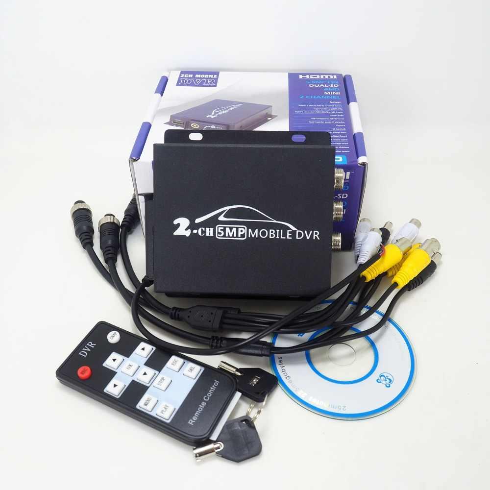 Новый видеорегистратор в реальном времени SD карта 5MP/4MP AHD Авто автобус Мобильный видеорегистратор 2CH цифровой видеорегистратор до 128GB Автомобильная камера DVR