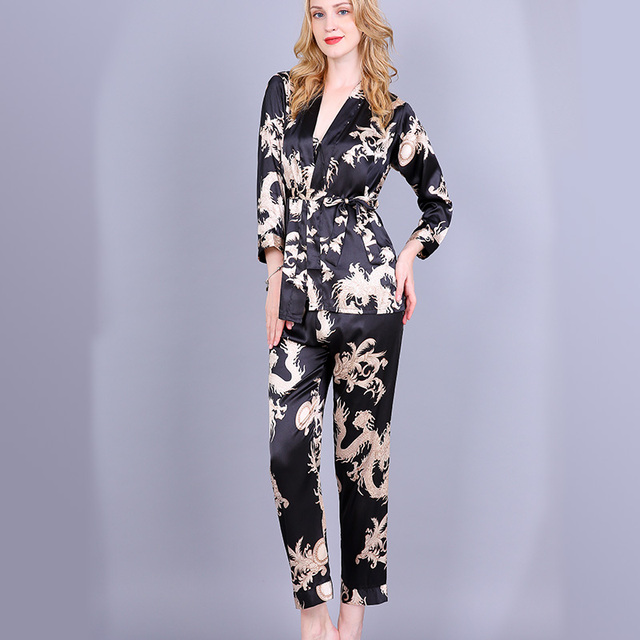 9028c74aef 3PCS Pajamas Set 2018 New Wome Sexy Long Sleeve Nightgown Sleepwear Chinese  Novelty Print Dragon Nightwear