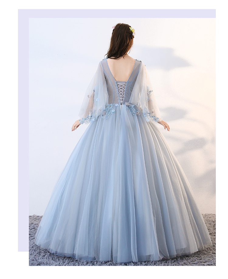 cb93fa4ad Light Blue Quinceanera Dresses Tulle With Flowers Top Transparent ...