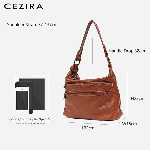 CEZIRA Fashion Women Handbag Washed Vegan Leather Shoulder Messenger Bags Casual Pockets Bags PU Bolsa Feminina Cross body Bags 3
