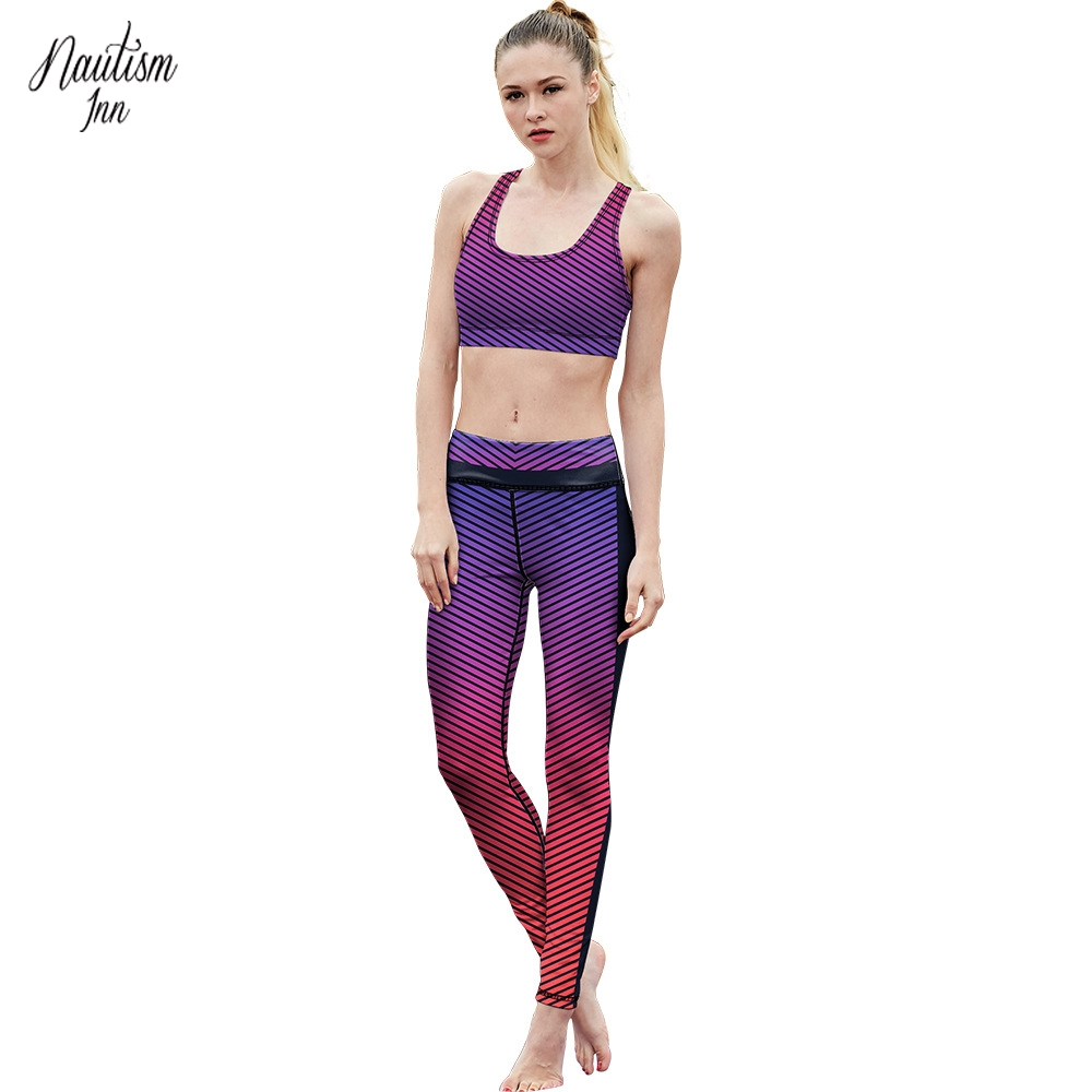 Four Needle Six Line Suit Female Fitness Wear Vest And Running Yoga Clothes 2018 New Two Sets of Sportswear NT107