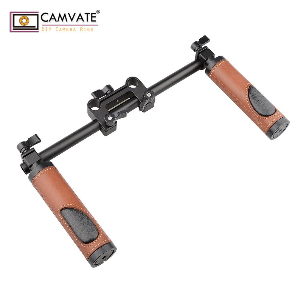 CAMVATE poignées (cuir) Kit de Support de guidon pour appareil photo reflex numérique caméscope appareil d'épaule C1614 accessoire de photographie d'appareil photo