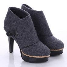 Spring Flock Boots Women High Heels Flanging Ankle Boots Women Waterproof Platform Boots Plus Size 34-43