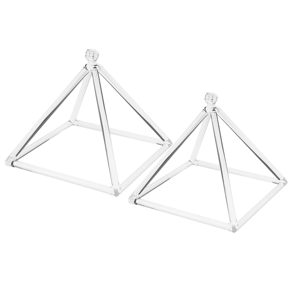 2PCS Quartz Crystal Singing Pyramid C Note Root Chakra for Relaxation Sound 6inch 8inch