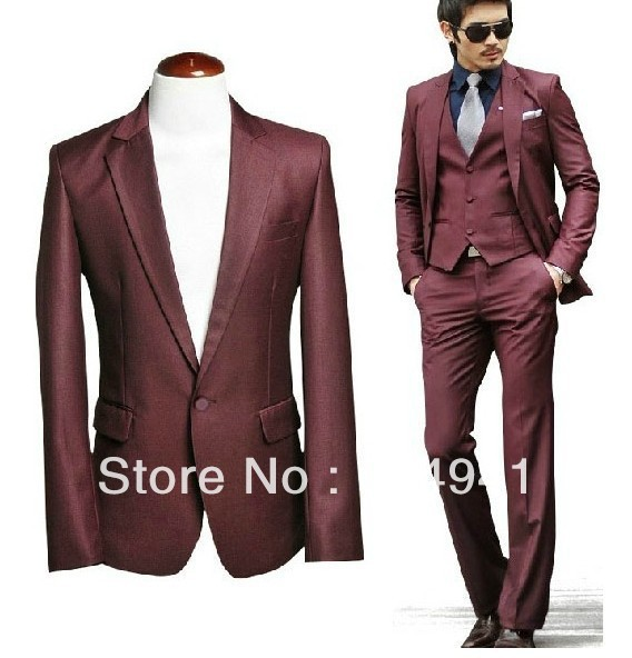 Free Shipping Custom Made Wine Red Color Thin Body Men S Formal Suits Best Wedding
