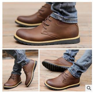 fashion 2015 new spring men's genuine leather boots casual