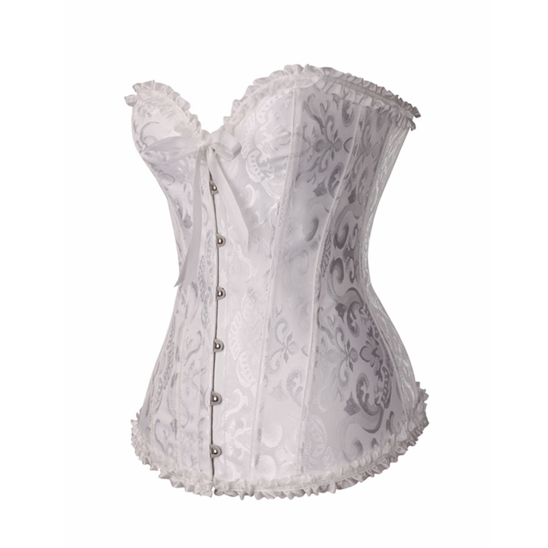 Steampunk Gothic Corset Satin Boned Lace Up Sexy Jacquard Women Corselet Corsets and Bustiers Slimming Plus Size Multi Colors in Bustiers Corsets from Underwear Sleepwears