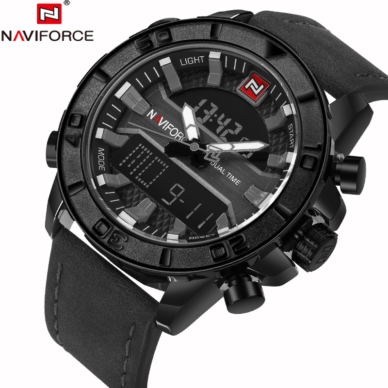 NAVIFORCE Fashion Casual Leather Mens Quartz Analog Wristwatch Waterproof Military Army LED Outdoor Sport Watches Male Clock