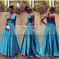 Elegant Formal Long Evening Dresses vestidos de fiesta largos 2016 New Sexy V-Neck Backless Sequined Prom Gowns Cheap Maxi Dress
