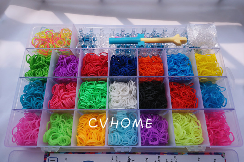 New Colorful Loom Kit Set 3400 Rubber Bands 21 Colors With Plastic Box Organizer Bracelet Making Tool Children S Craft In Charm Bracelets From Jewelry