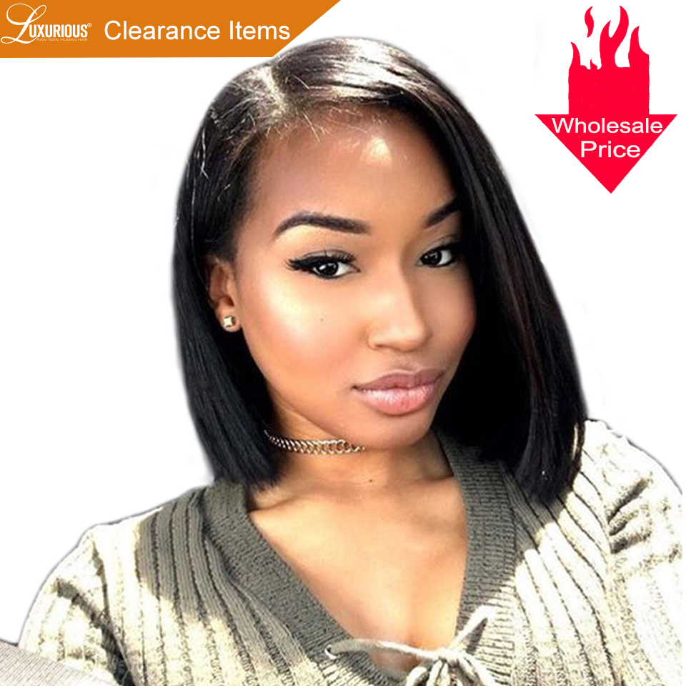 150 Short BOB Wig For Women Brazilian Remy Hair Straight Lace Front Human Hair Wigs Side