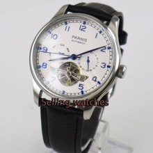 Parnis watch 43mm power reserve Black strap White dial date Automatic Self-Wind Men's watch