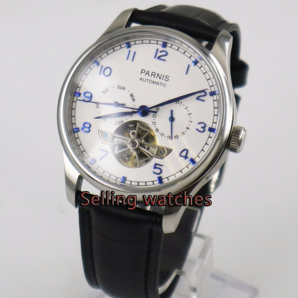 Parnis watch 43mm power reserve Black strap White dial date Automatic Self-Wind Mens watchParnis watch 43mm power reserve Black strap White dial date Automatic Self-Wind Mens watch