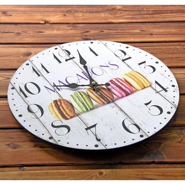 Macarons Leisure snack Wood Decorative Wall Clock Modern style Mute Large Clocks Home Decor