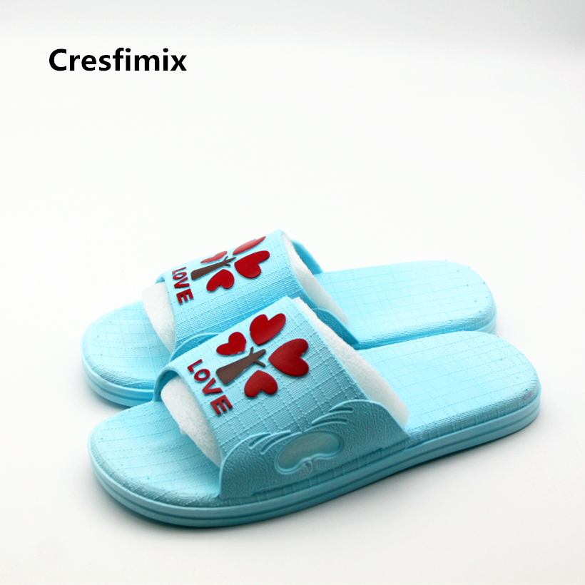 Cresfimix women fashion love heart print spring & summer slip on slides lady cute indoor & bathroom soft slippers cute slippers cresfimix women cute spring