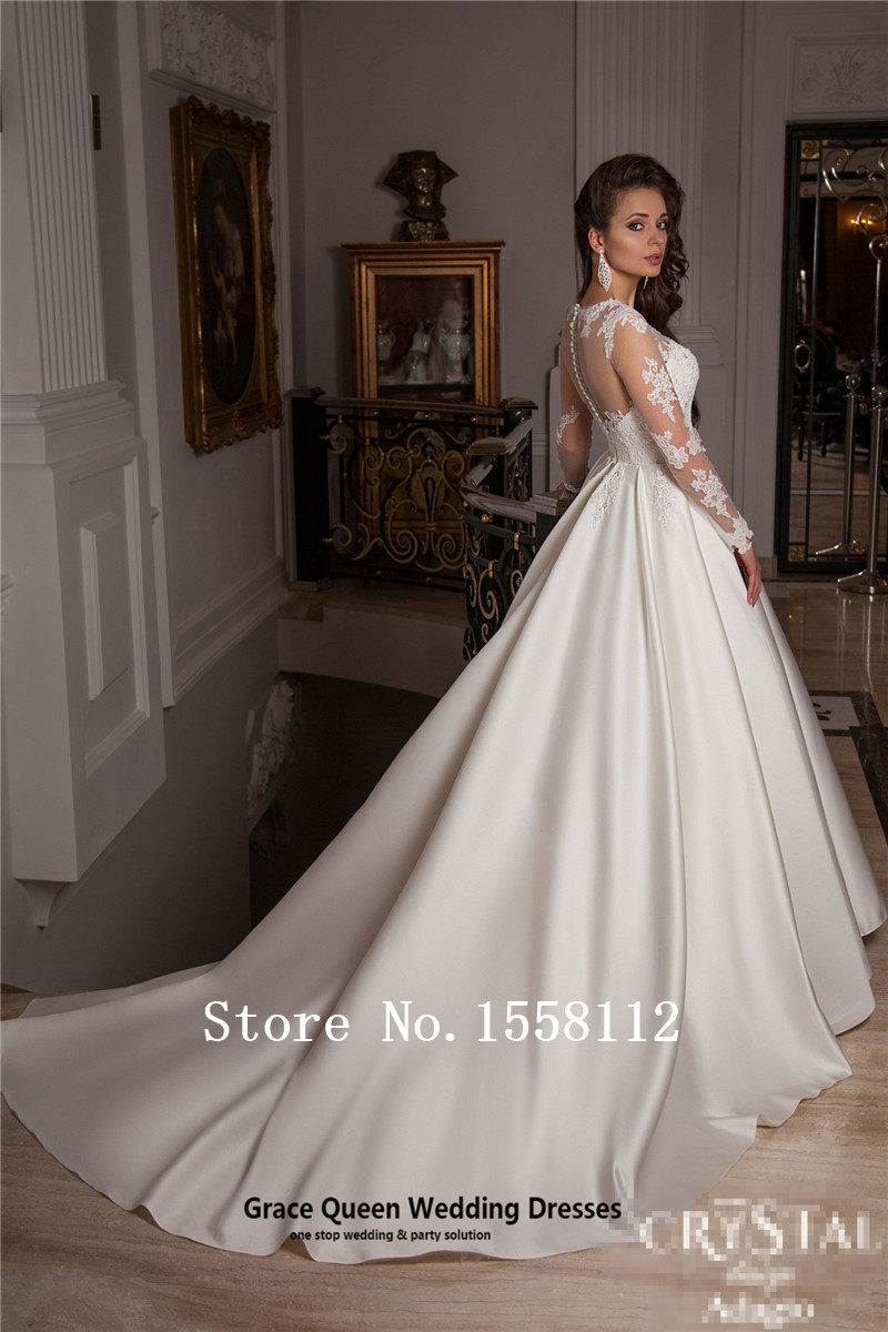 Perfect elegant 2016 Lace wedding dress lace Swarovski crystal waist ...