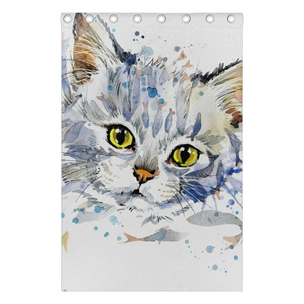 Watercolor Cat Curtains Drapes Panels Darkening Blackout Grommet Room  Divider For Patio Window Sliding Glass Door 55x84 Inches In Curtains From  Home ...