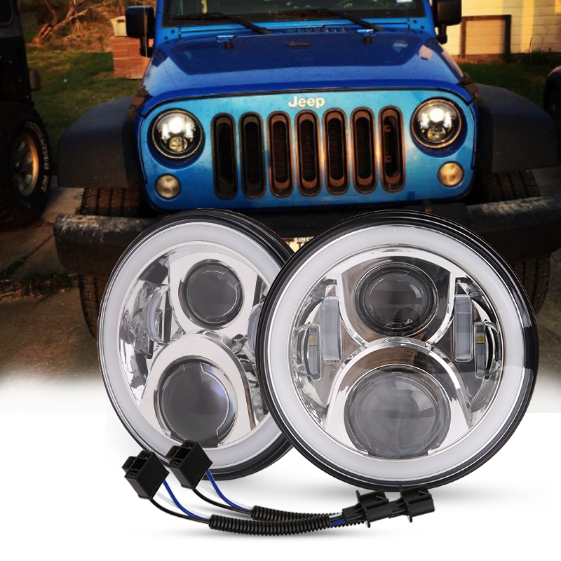 For Hummer H1 H2 Led Headlight 60w 7 Inch LED Headlights High Low Beam Angel Eye DRL Amber Turn Signal for Jeep Wrangler JK Lamp headlight for kia k2 rio 2015 including angel eye demon eye drl turn light projector lens hid high low beam assembly
