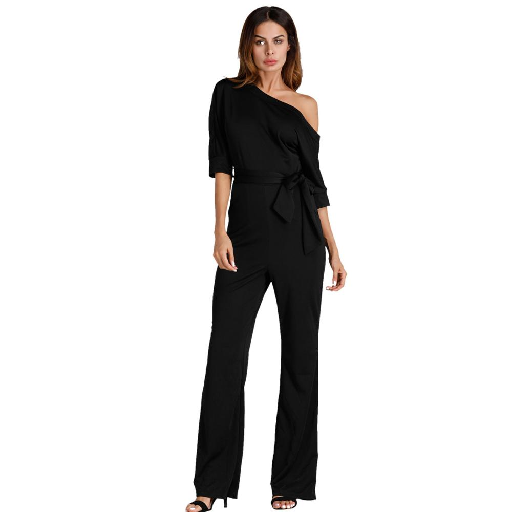 5bcd0396b14 Dropwow NIBESSER Jumpsuits Romper Women Overall Sexy One Shoulder ...