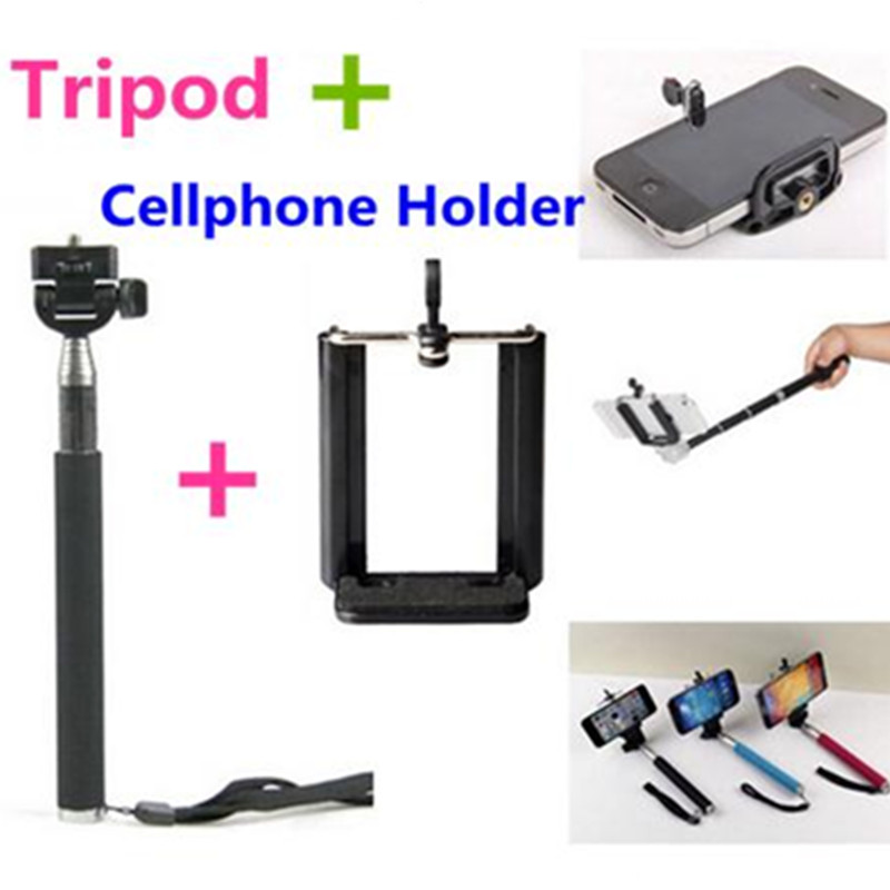 Selfi Stick To Self Monopod Flexible Tripode Phone Clip Holder Selfie Stick Tripod Adapter For Iphone 6 Samsung Cellphone