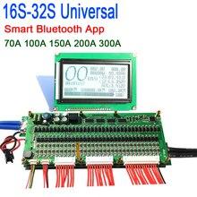 Smart 8s 32s bateria bms placa de proteção bluetooth app lifepo4 li ion lítio bms 70a/100a/200a/300a 14s 16s 17s 20s 22s