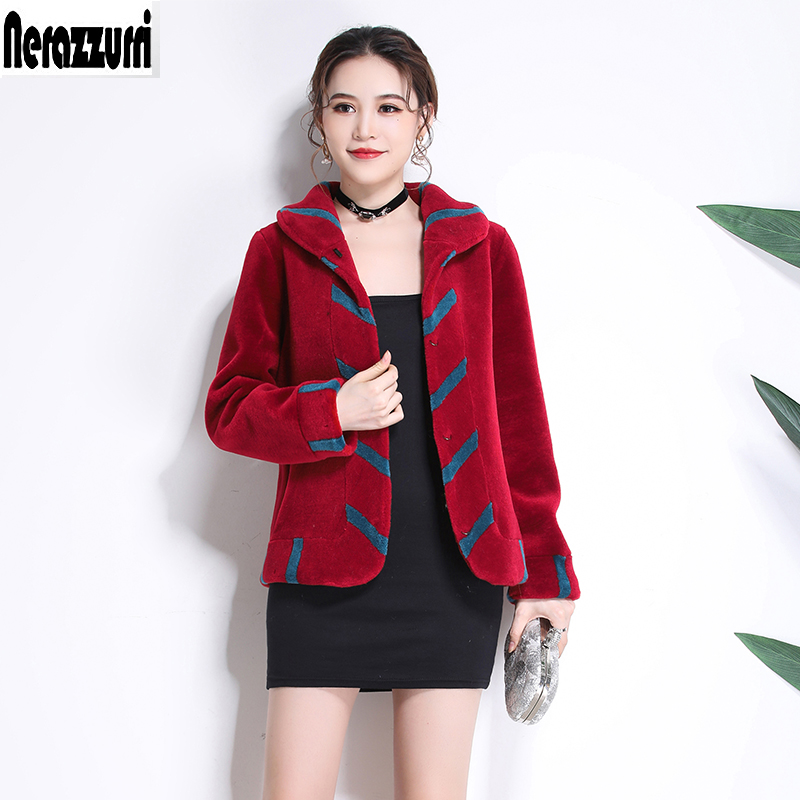 Nerazzurri Fur coat natural fur short warm thicken real lamb fur jacket china winter color block sheep shearing plus size 5xl
